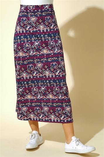 Floral Tile Print Longline Skirt
