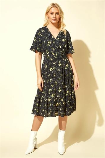 Floral Spot Wrap Midi Dress