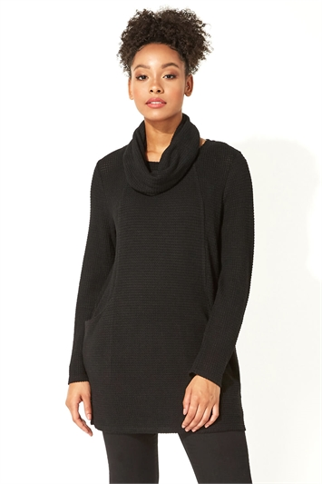 Textured Longline Top with Snood