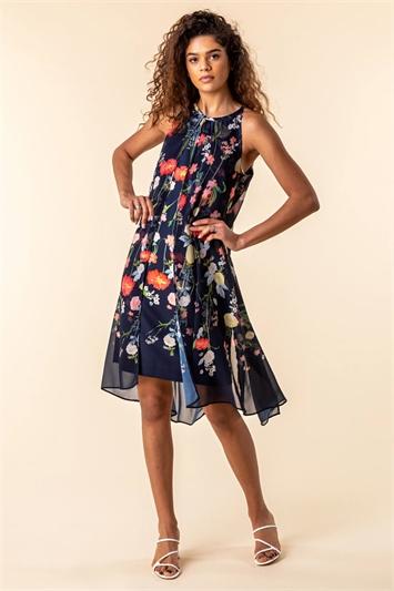 Navy Floral Chiffon Overlay Dress