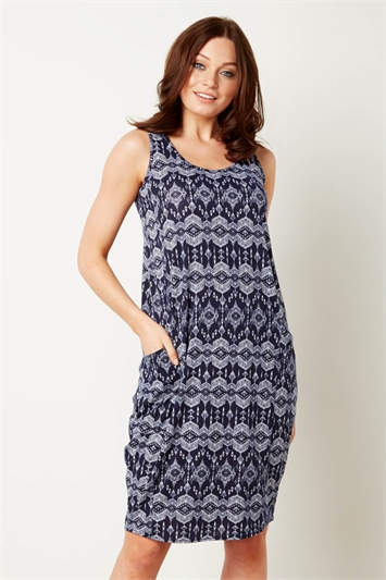 Aztec Print Slouch Pocket Cocoon Dress