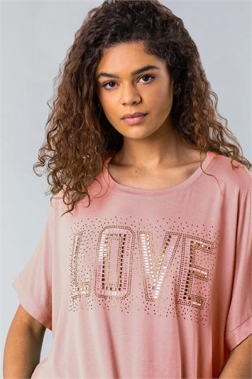 Pink Diamante Embellished Love Logo Top