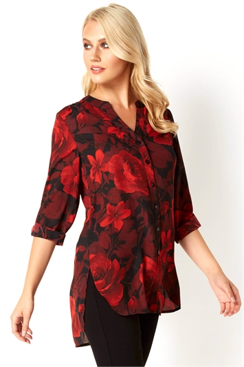 Rose Print Roll Sleeves Shirt