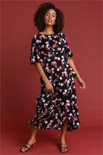 Black Floral Print Chiffon Midi Dress