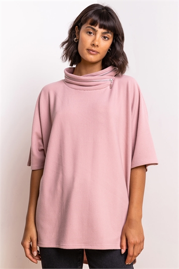 Pink Zip Detail Ribbed Cowl Neck Top, Image 1 of 5