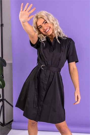 Cotton Belted Shirt Dress