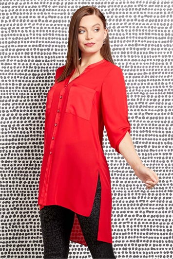 Longline Button Through Blouse