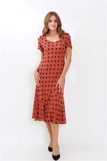 Julianna Spot Print Bias Cut Midi Dress