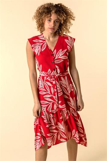 Leaf Print Frill Hem Shirt Dress