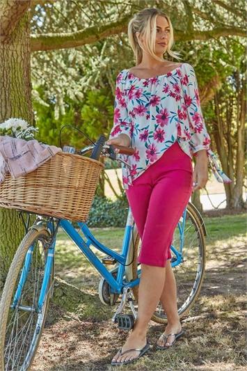 Floral Print 3/4 Sleeve Bardot Top