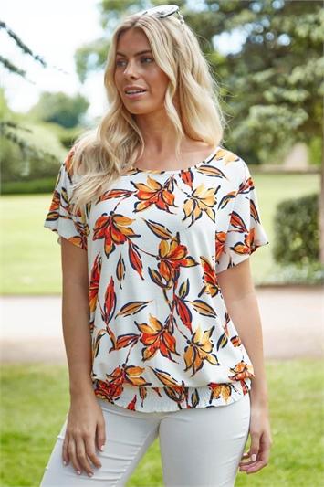 Shirred Hem Tropical Leaf Print T-Shirt