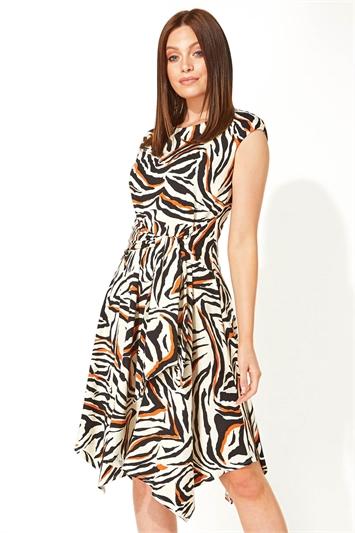 Animal Print Hanky Hem Dress