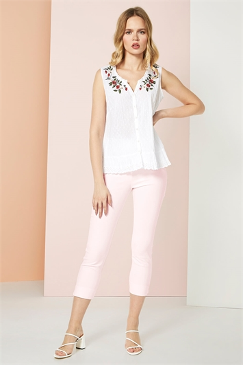 Floral Embroidered Cotton Crinkle Blouse