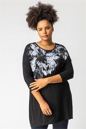 Black Curve Floral Embellished Top, Image 1 of 5