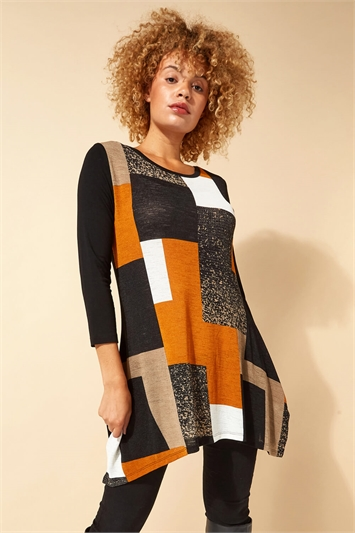Longline Colour Block Hanky Hem Tunic