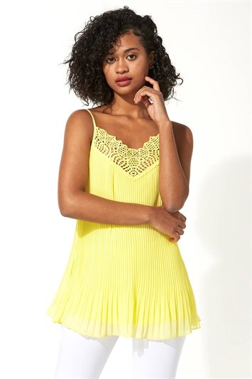 Pleated Lace Trim Cami Top