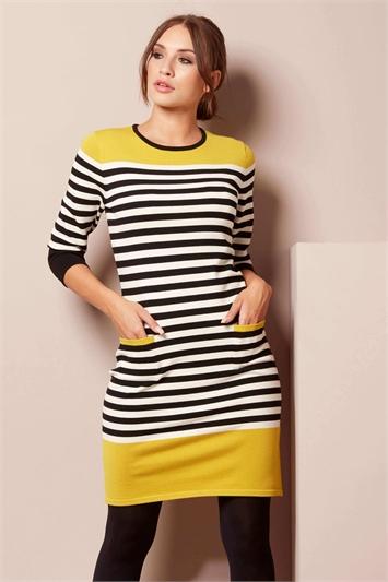 Stripe Pocket Knitted Shift Dress