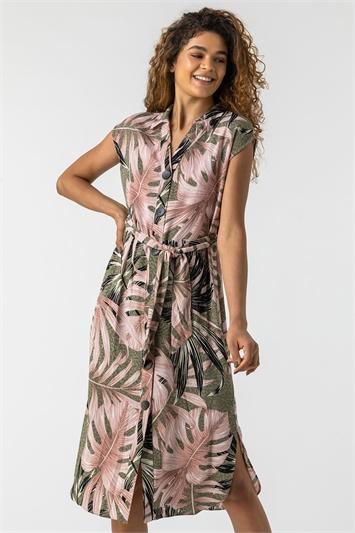 Palm Leaf Animal Print Shirt Dress