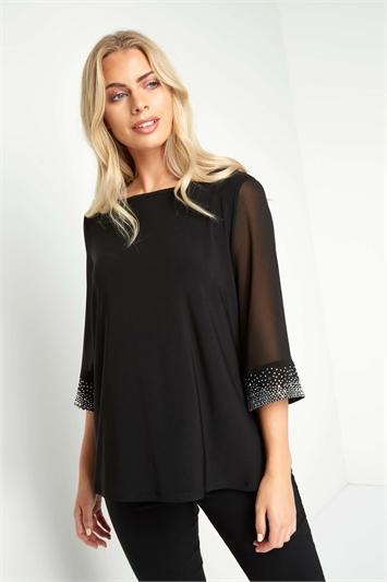 Black Embellished Cuff Top, Image 1 of 4