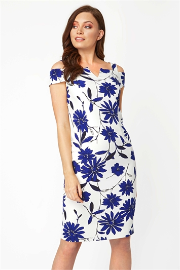 Cold Shoulder Floral Scuba Dress