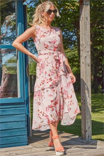 Floral Print Frill Midi Dress