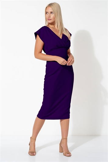 Purple Cross Front Midi Dress