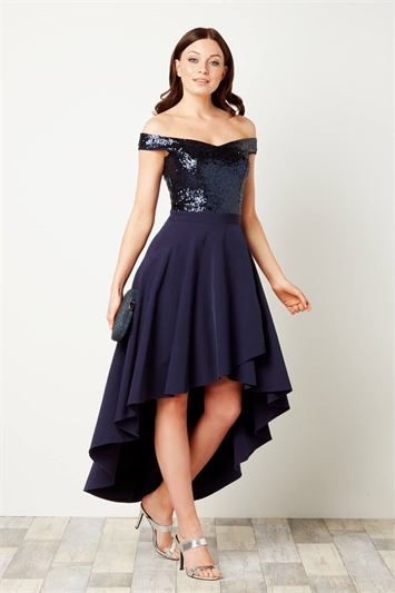 Sequin Bardot Gown