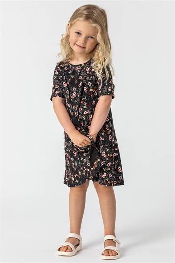 Black Girls Floral Print Stretch Swing Dress