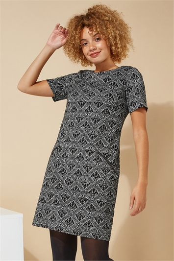Baroque Flocking Detail Shift Dress