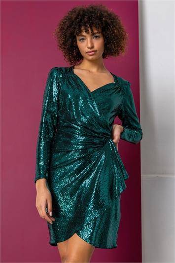 Green Sparkle Embellished Wrap Dress