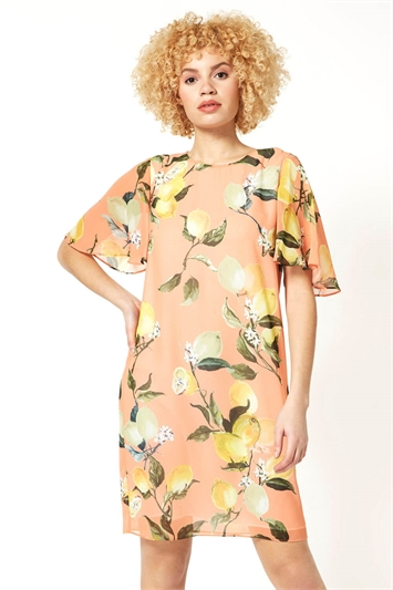 Lemon Print Angel Sleeve Dress