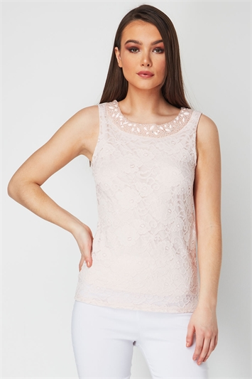 Embellished Lace Shell Top