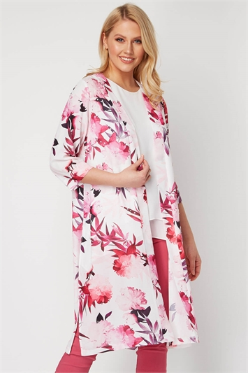 Floral Print Embellished Kimono