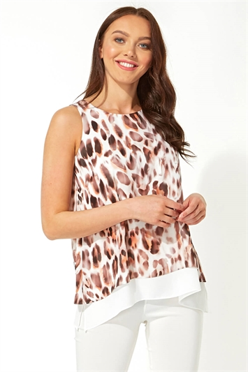 Animal Print Chiffon Vest Top
