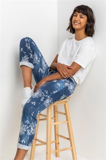 Indigo Floral Print Roll Hem Pants