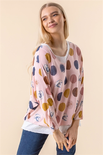 Spot Print Double Layer Top