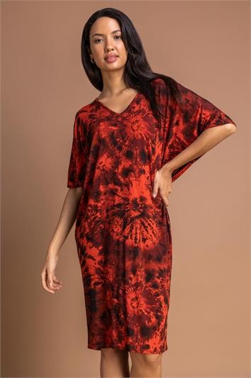 Rust Tie Dye Print Cocoon Dress