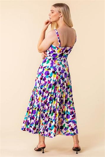 Abstract Print Pleated Midi Dress