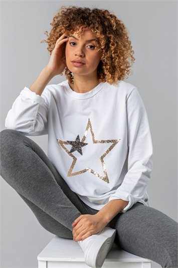 Star Print Button Side Lounge Top