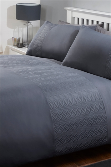 Charcoal King Size Plain And Textured Duvet Cover Set, Image 1 of 2