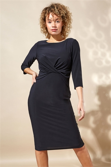Twist Front 3/4 Sleeve Shift Dress
