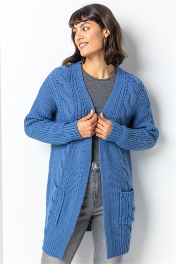 Denim Cable Knit Longline Cardigan