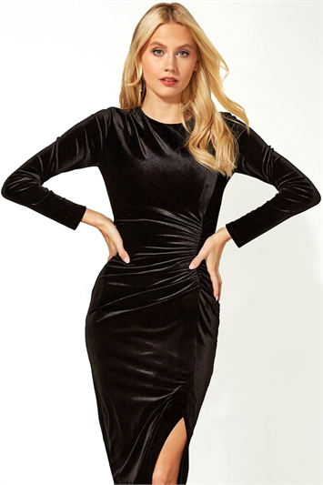 Long Sleeve Velvet Shift Dress
