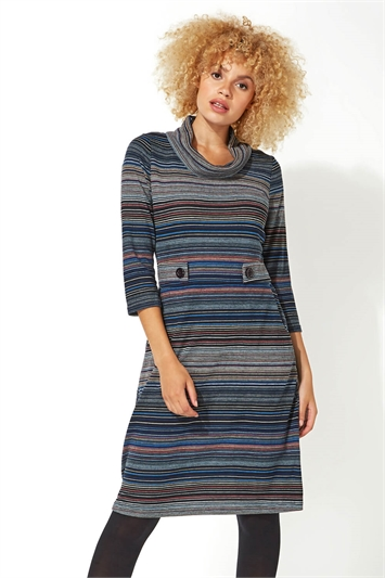 Stripe Cowl Neck Button Detail Dress