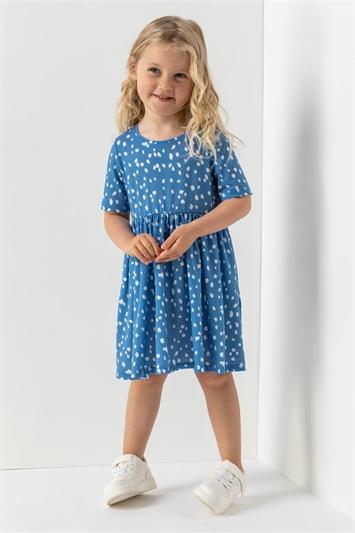 Blue Girls Spot Print Pocket Detail Dress