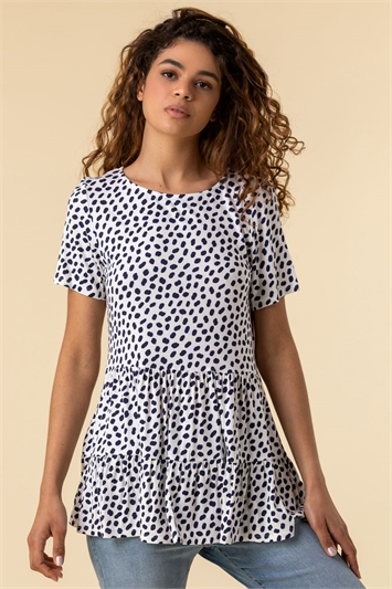 Navy Spot Print Tiered T-Shirt, Image 1 of 5