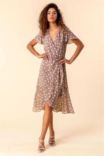 Taupe Frilled Hem Spot Print Dress