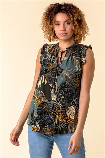Frill Detail Tropical Print Top