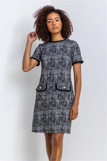 Black Textured Pocket Shift Dress, Image 1 of 4