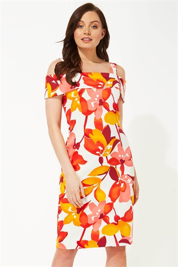 Floral Print Bardot Scuba Dress